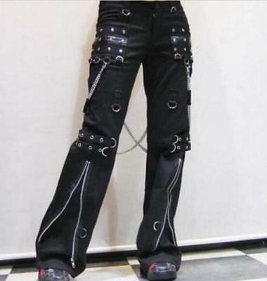 Womens Hip Hop Gothic Bell-Bottoms Punk Pants Chain Motorcycle Trousers New 2019