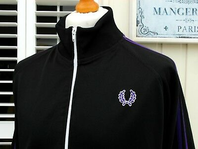 "Fred Perry Black/Purple Twin Taped Track Jacket - 46"" - XL/XXL - Ska Mod Scooter"