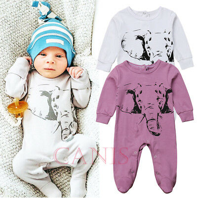 Pattern Elephant Newborn Baby Boys Girls Bodysuit Romper Jumpsuit Outfit Clothes