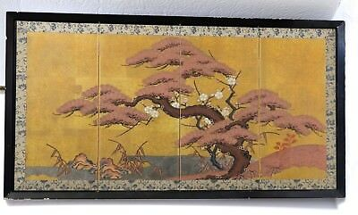 Vintage Framed Small Japanese Byobu Hand Painted Spreading Tree 4 Panel Screen