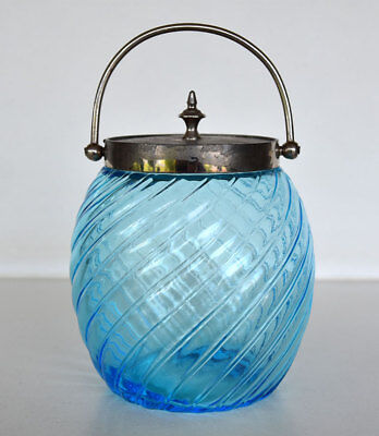 Vintage Blue Swirl Glass Victorian Style Biscuit Barrel