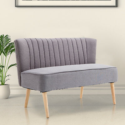 HOMCOM Modern Double Seat Sofa Compact Loveseat Couch Padded Linen Wood Legs