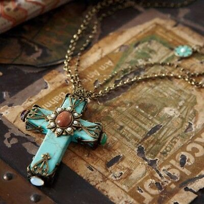SWEET ROMANCE Cathedral Turquoise Cross Necklace