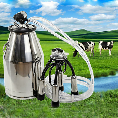 Stainless Milking Machine Portable Dairy Cow Milker Bucket Tank Barrel Cattle q