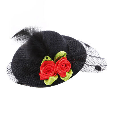 Ladies Girls Hair Clip Fascinator Feather Flower Halloween Party Hair Accessory