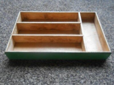 Vintage Dovetailed Painted Wood Flatware Tray