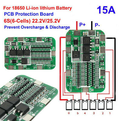 6S 15A BMS Protection PCB Tafel For 6Packs Li-ion Lithium 18650 battery Cell AHS