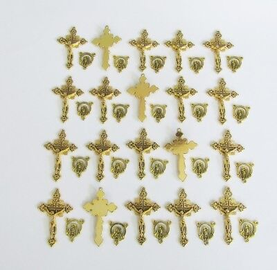 Lot 40 Rosary Crucifixes crosses & Centers rosaries part finish Antique GOLD NEW
