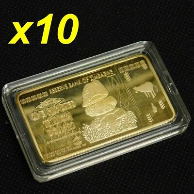 10 Pcs Zimbabwe 100 Trillion Dollars Gold Bullion Bar Ingot (Zm1GB10)