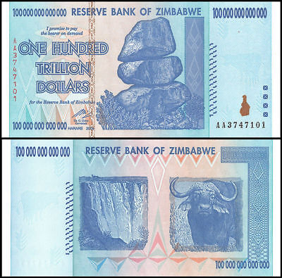 Zimbabwe 100 Trillion Dollars 2008 Banknote UNC Uncirculated AA+ New (P91)