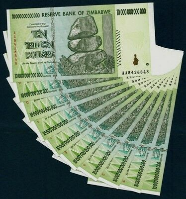 10 Pieces Zimbabwe 10 Trillion Dollars 2008 Banknote UNC AA+ (100 Trillion)