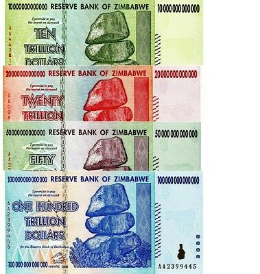 Zimbabwe 10 20 50 100 Trillion Dollars Set of 4 Banknotes UNC AA+ 2008 (Zim4)