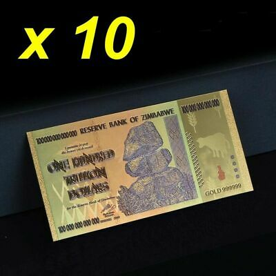 10 Pieces Zimbabwe 100 Trillion Gold Colour Banknotes wtih Certificate