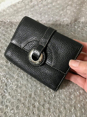 Furla Black Pebble Leather Zip Purse/wallet