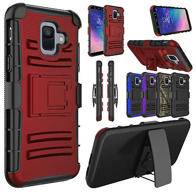 For Samsung Galaxy A6 2018 Case Shockproof Holster Clip w/ Kickstand Phone Cover