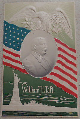 1908 HTF Taft Embossed Postcard Great Design Flag Miss Liberty PM 3/5/1909 WaDC