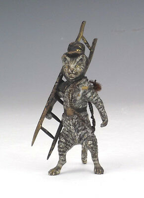 Antique Vienna Cold Painted Bronze - Comical Chimney Sweep Cat Figure