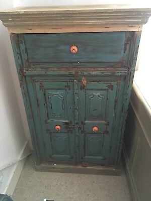 Antique/vintage Indian Turquoise Cabinet With Drawer