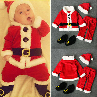 4PCS Santa Christmas Infant Baby Coat+Pants+Hat+Socks Outfit Set Costume Outfits