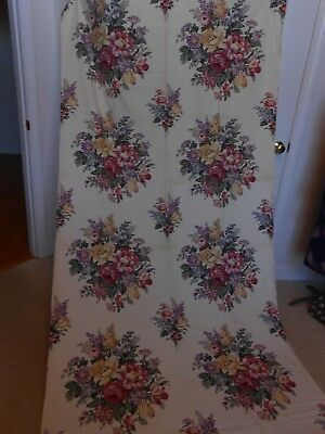 """VINTAGE BARK CLOTH ERA FABRIC FLORAL ON OFF WHITE GREAT FOR PILLOWS 47"""" x 104"""""""