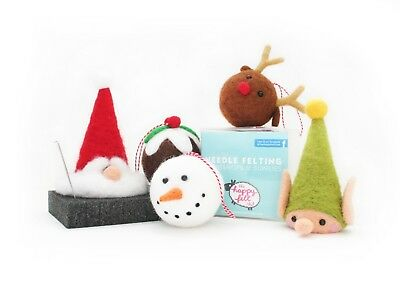 Christmas Needle Felting Kit | Christmas Pudding, Snowman, Reindeer Baubles, San