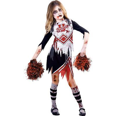 Kids Zombie Cheerleader Girl Halloween Fancy Dress Costume