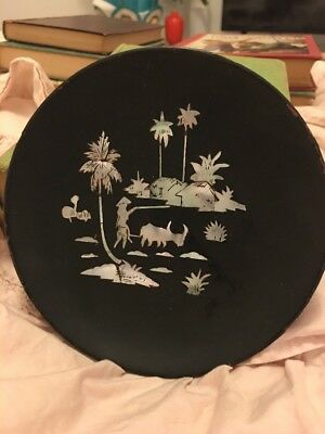 Vintage Asian Dish- Black Laquer, Mother of Pearl Inlay of Village Scene