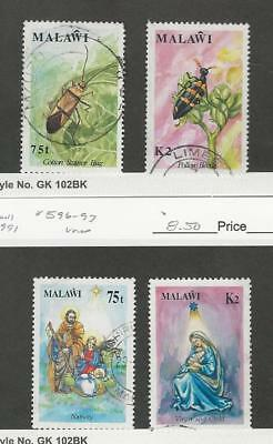 Malawi, Postage Stamp, #592-593, 596-597 Used, 1991 Insects, Christmas