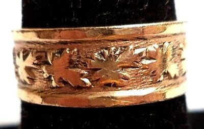 Stunning Vintage Estate Signed C&c 14K Gp Flower Textured Sz 8 Ring!!! 5038S
