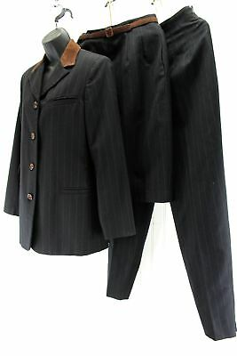 Vintage Wool Suit Harve Bernard 1990s Black Brown Fine Stripe 3 Piece