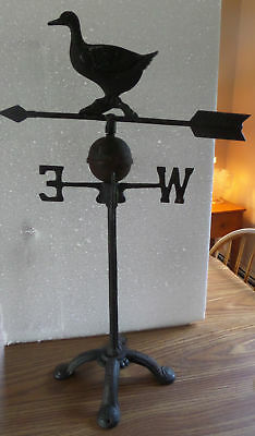 "Vintage Aluminum DUCK Directional Weathervane Cast Iron Base 28.5"" Tall"