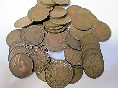Lot of 50 1914 Canada Large Canadian Cent Coins