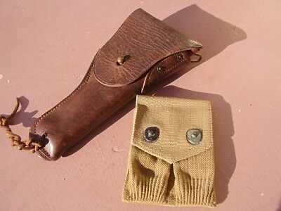 WWI US ARMY Set: leather .45 Colt 1918 holster and Mills canvas mag pouch