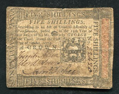 PA-166 OCTOBER 1, 1773 5s FIVE SHILLINGS PENNSYLVANIA COLONIAL CURRENCY NOTE