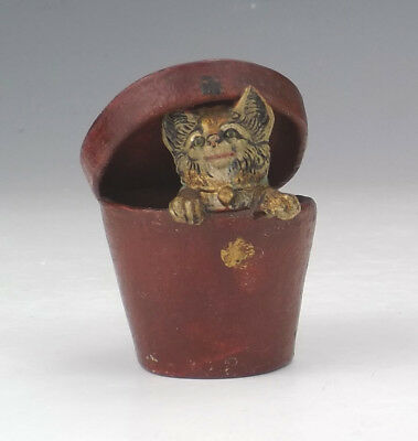 Antique Painted Composition - Comical Cat In A Hatbox - Lovely!