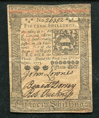 PA-168 OCTOBER 1, 1773 15s FIFTEEN SHILLINGS PENNSYLVANIA COLONIAL CURRENCY (E)
