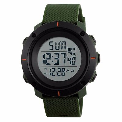 Men's Military Dual Time LED Digital Countdown Timer Sport Quartz Wrist Watch US