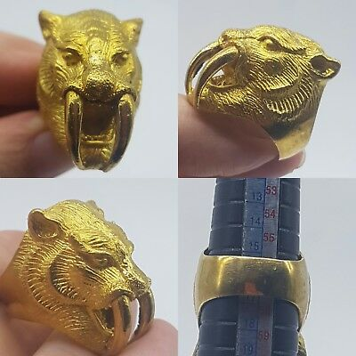 Stunning lion head rare beautiful gold gilded unique ring