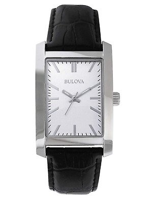 Bulova Men's Quartz Silver-Tone Dial Black Leather Strap Watch 96A156