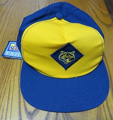 Official Boy Cub Scouts of America Wolf Blue Yellow Cap Hat M/L Medium/Large NEW