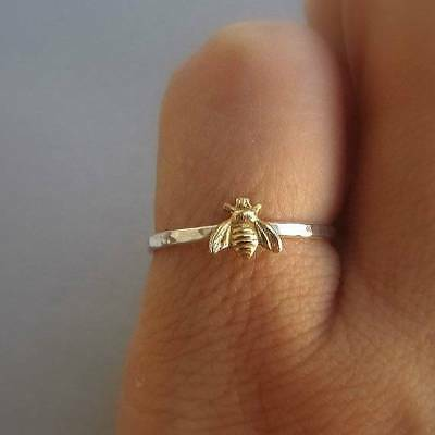 Simple Tiny 925 Silver Bee Ring Gold Hammered Band Stacking Rings