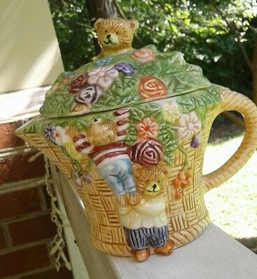 vintage loomaco 1993 hand painted honey bears teapot collectible signed