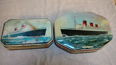 Vintage Antique tins:  R.M.S. Queen Mary & SS United States Bensons Confections