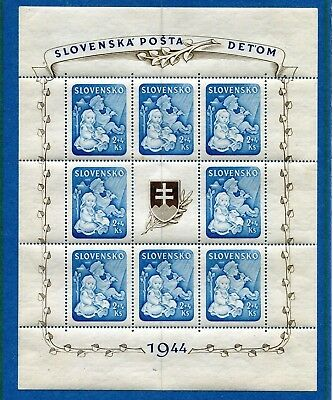 SLOVAKIA WW2 GERMAN PUPPET STATE VERY SCARCE 1944 B27a MNH WELFARE SHEET
