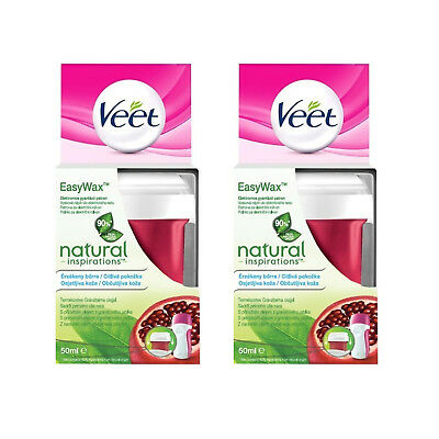 2 x Veet Easy Wax Electrical Roll-On Refills 50ml All Skin Types Legs & Arms