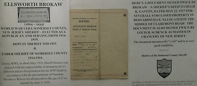 Wwi Sheriff Somerset County New Jersey Document Signed 1917 Bernardsville Deed !