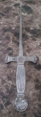 Antique Metal Letter Opener - Knights Templar and Masons Life Indemnity Co.