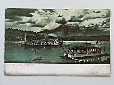 Vintage Ohio River by Moonlight Undivided Back 1907 Post Postcard 649