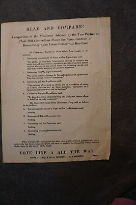 Vintage Republican Flyer  1944 Conventions Integration vs Jim Crow- MUST SEE