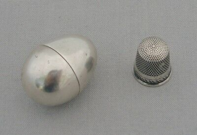 Unusual Antique Silver Novelty Egg Shaped Thimble Holder & Sterns Bros Thimble